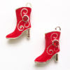 4 Red 20x16mm Enamel Boots Charms